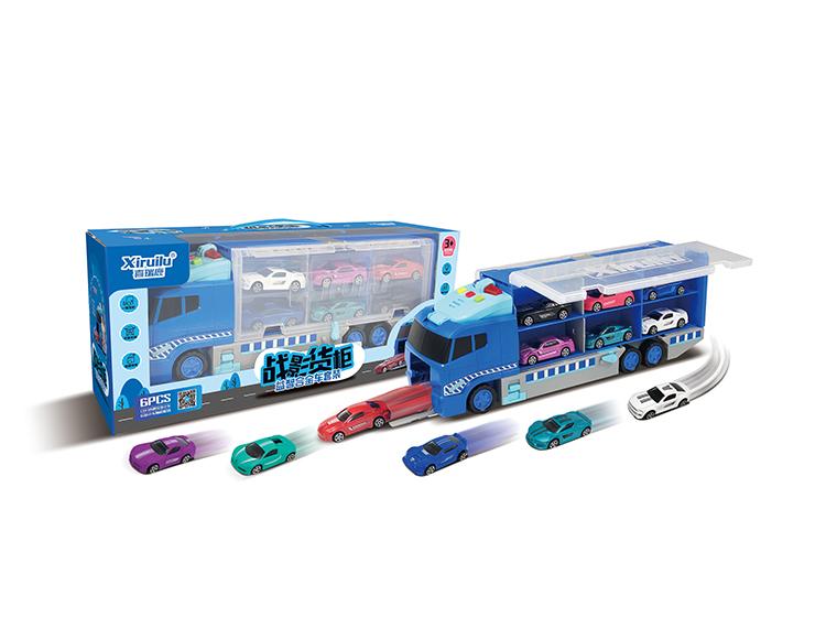 战影货柜车配6只小车(3款混装) YF8329