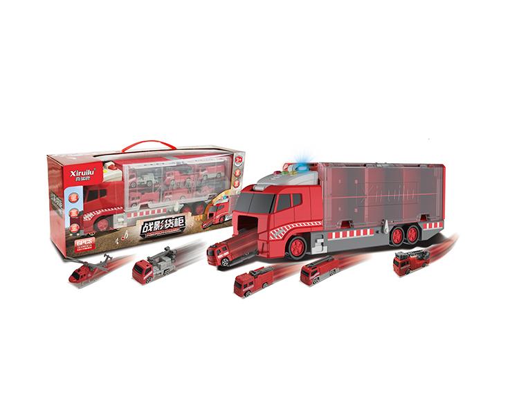 战影货柜车配6只合金小车(4款混装) YF8334
