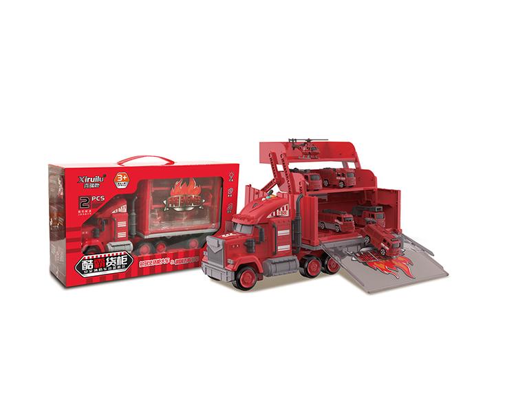 酷霸货柜车配2只合金小车(4款混装) YF8335