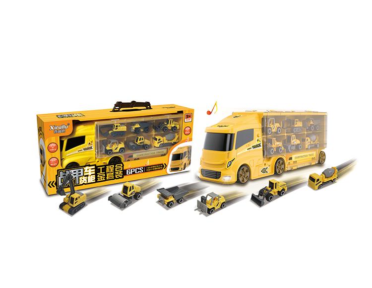 战甲货柜车配6只合金小车(4款混装) YF8337